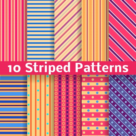 10 Different striped vector seamless patterns (tiling). Texture can be used for printing onto fabric and paper or scrap booking. Diagonal, vertical and horizontal design wallpaper in bright colors. Vector