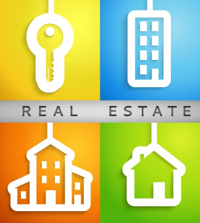 dream house: Real estate applique background. Vector illustration for your housing presentation. Set of white homes and key cutouts on different color backgrounds. Banner of bright symbols of values for business. Illustration