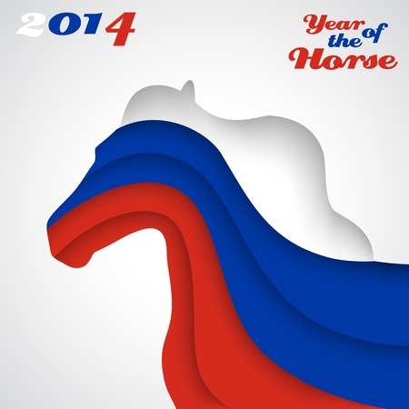Abstract applique paper horse. Vector illustration for your happy holiday design. Christmas and New Year card. Colors of Russian flag. 2014 Vector