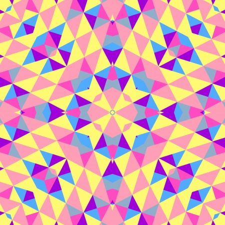 Abstract colorful geometric background. Vector illustration for retro design. Pattern of shapes. Mosaic banner. Hipster star background. Pink, purple, blue, yellow colors. Music flyer, cover, poster. Vector