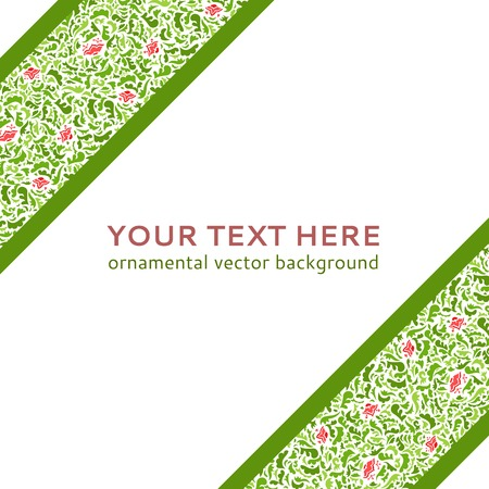 Illustration with flower ornamental stripes isolated on white background. Vector illustration for your fashion presentation. Vector