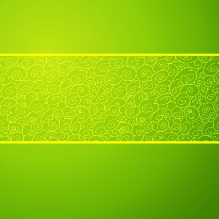 chinese border: Green wave horizontal ornamental background. Vector illustration for your spring fashion design. Easy to edit and change color. Symbolizes growth, a stream and development. Illustration