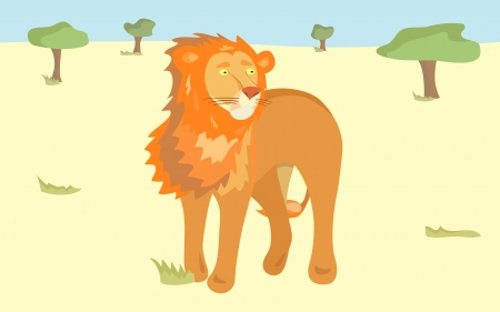 Lion in Savannah. Vector illustration for your wild animal design Vector