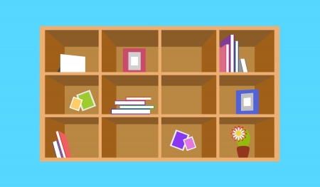 Wooden bookshelf with things. Vector illustration for home design Vector