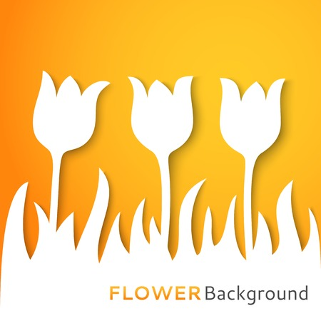 Flower applique background. Vector illustration for your fresh spring design. With place for text. Natural pattern cut off white paper. Simple, light and bright wallpaper. Romantic greeting card. Vector