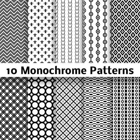 10 モノクロの異なるベクトル シームレス パターン (並べて表示)。無限のテクスチャは、パターンの塗りつぶし、web ページの背景の壁紙、表面のテ