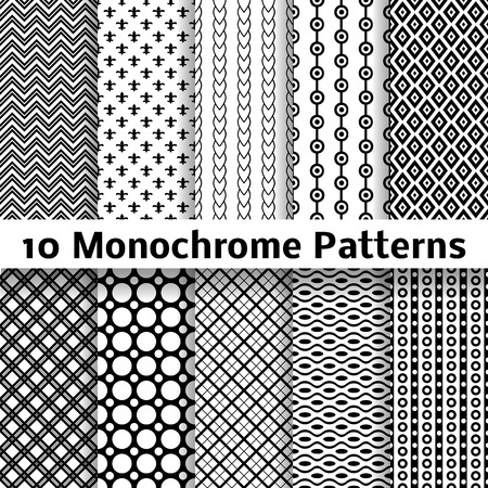 10 Monochrome different vector seamless patterns (tiling). Endless texture can be used for wallpaper, pattern fills, web page background, surface textures. Set of black and white geometric ornaments. Ilustração