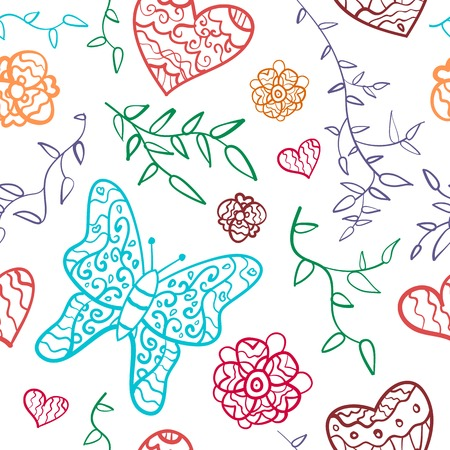 Floral seamless pattern with flowers, hearts and butterfly. Vector illustration for your lovely design. Seamless endless funny spring texture for textile. Colorful. Vector