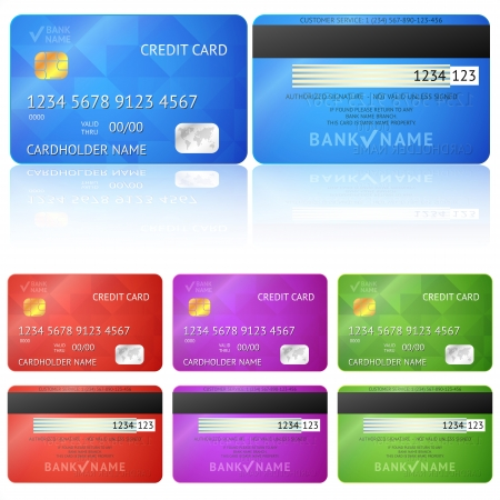 Set of realistic credit card two sides isolated on white background. Vector illustration for your business design. Detailed glossy cards. Illustration