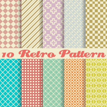 Ten retro different vector seamless patterns (tiling). Endless texture can be used for wallpaper, pattern fills, web page background,surface textures. Set of monochrome geometric ornaments. Vector