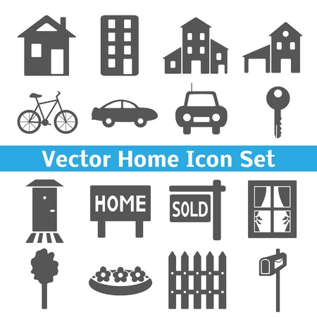 suburb: Home icons set. Real estate. Vector illustration for your domestic design. Collection of houses, transport and related to home picture. Family values.