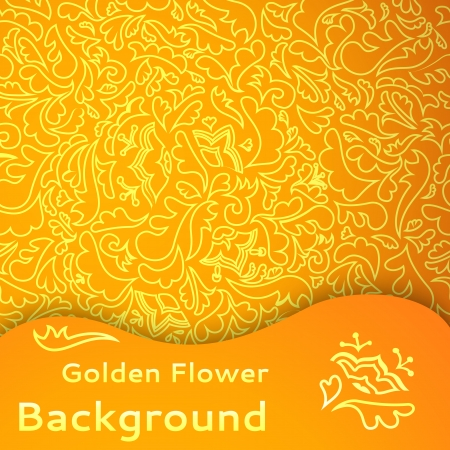 chinese pattern: Golden flower seamless background. Vector illustration for your majestic fashion design. Can be used for book, textile, web page background, surface texture.