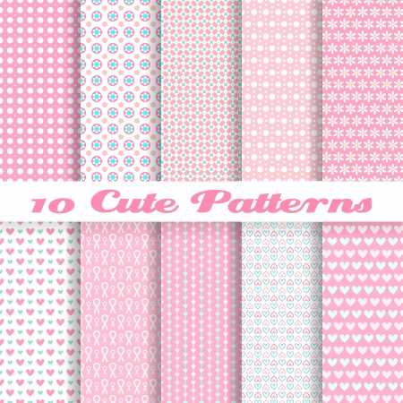 10 Cute different vector seamless patterns (tiling). Pink color. Endless texture can be used for sweet romantic wallpaper, pattern fills, web page background, surface textures. Heart and dot shape.
