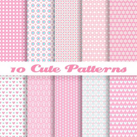 10 Leuke verschillende vector naadloze patronen (tegels). Roze kleur. Endless textuur kan worden gebruikt voor zoete romantische behang, patroonvullingen, webpagina achtergrond, oppervlaktestructuren. Hart en puntvorm.
