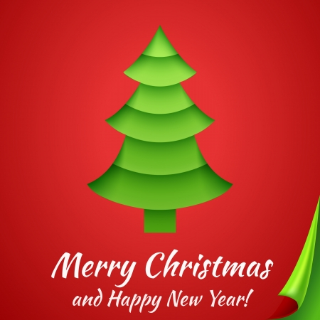 Merry Christmas greeting card with tree. Vector illustration for your holiday presentation. Postcard picture in red and green color. For greeting, invitation. Applique cut from paper. Happy New Year. Vector