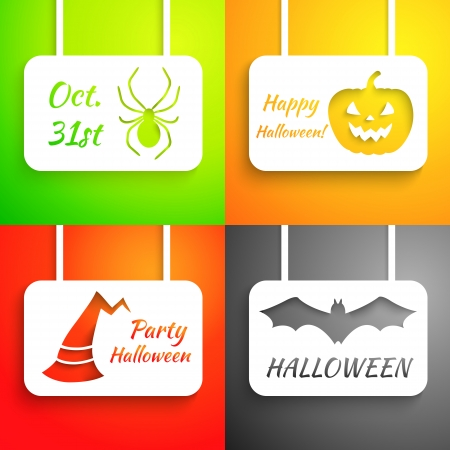 Pumpkin, bat, hat and spider paper applique background set. Vector illustration for your Halloween design. Holiday greeting card. Party poster. Green, orange, red and black color. Vector