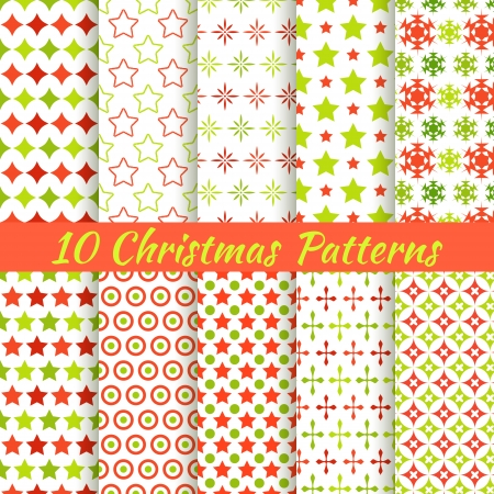 snowflake border: 10 Christmas different vector seamless patterns (tiling). Holiday background. Endless texture can be used for wallpaper, pattern fills, web page, surface textures. Set of New Year color ornaments. Illustration