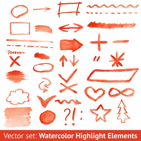 Set of red watercolor highlight elements. Vector illustration for your attractive design. Signs and symbols. Brush drawing created in ink sketch handmade technique. Shapes on white paper texture. Vector