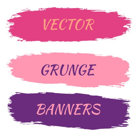 grungy header: Set of grunge banners. Vector illustration. Pink and purple color.