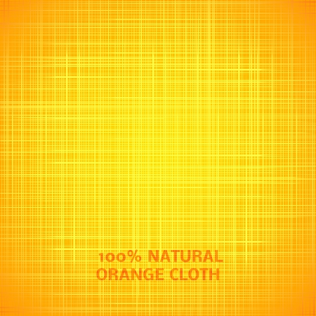 lightly: Orange cloth texture background. Vector illustration for your bright funny design. Book cover. Fabric bright ecological canvas wallpaper with delicate striped pattern.
