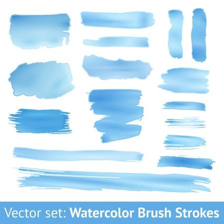 agua: Conjunto de acuarela azul pincelada aislado en el fondo blanco. Ilustración vectorial para diseño grunge. Pintado a mano mancha. Degradados con superposición. El tamaño puede ser aumentado con preservación de la calidad