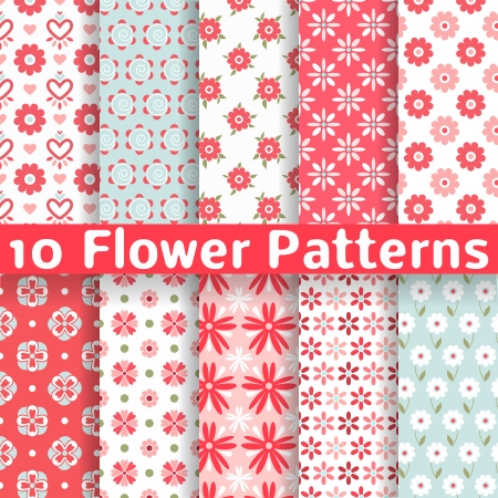 10 Different flower vector seamless patterns (tiling). Romantic chic texture can be used for printing onto fabric and paper or scrap booking. Pink, white and blue colors. For baby, girl and woman.