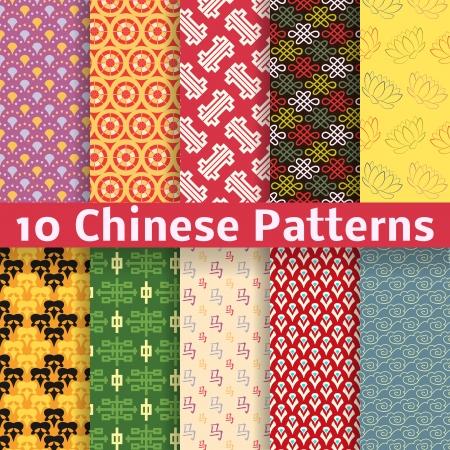 flores chinas: 10 Los diferentes patrones sin fisuras vector Chino (alicatado). Textura se puede utilizar para la impresión sobre tela y papel o chatarra de reserva.
