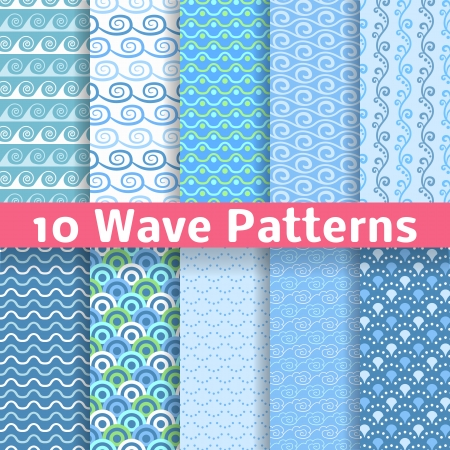 10 Wave different seamless patterns (tiling). Vector illustration for abstract aqua design. Endless texture can be used for fills, web page background, surface. Set of blue wallpaper with curves. Illustration