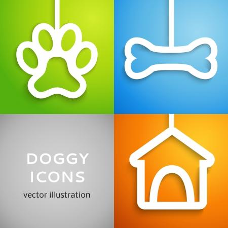 hueso de perro: Conjunto de iconos del perrito applique. Ilustración vectorial para diseño canino feliz. Doghouse, hueso y animal huella cortar papel blanco. Aislado en el fondo colorido.