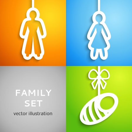 Set of applique family icons. Vector illustration for your human home design. Man, woman and baby sign cutouts from white paper. Isolated on colorful background. Bright, happy social poster. Vector
