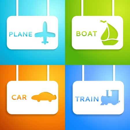 Travel applique background. Vector illustration for your transportation presentation. Picture of the light blue airplane, blue train, green boat and orange car. Easy to change color background. Vector
