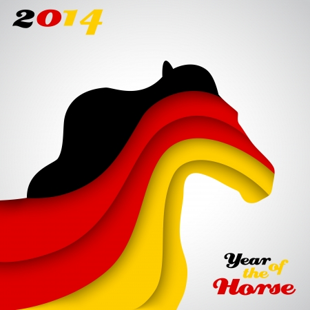 Abstract applique paper horse. Vector illustration for your happy holiday design. Christmas and New Year card. Colors of the German flag. 2014 Vector