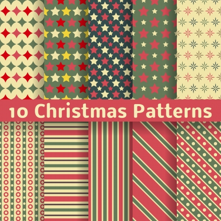 10 Christmas different vector seamless patterns (tiling). Holiday background. Endless texture can be used for wallpaper, pattern fills, web page, surface textures. Set of New Year color ornaments. Vector