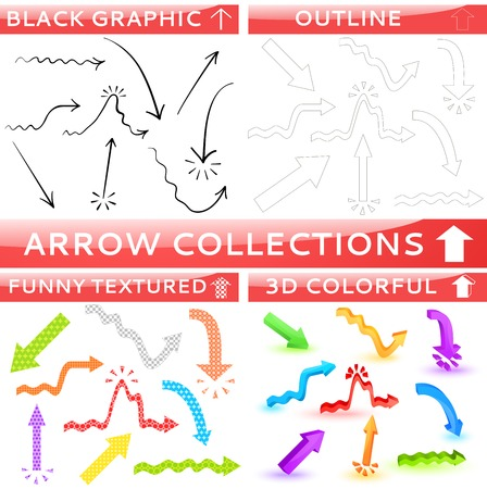 Arrow collection of four different set. Vector illustration for your business and education design. Black sketch, outline, funny textured and colorful three dimensional. Black, red, blue, green color. Vector