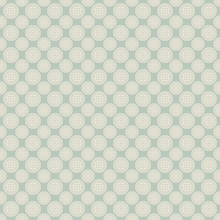 Floral vector seamless pattern with dots (tiling). White and blue shabby color. Endless texture can be used for printing onto fabric and paper or scrap booking. Flower abstract shape. Vector