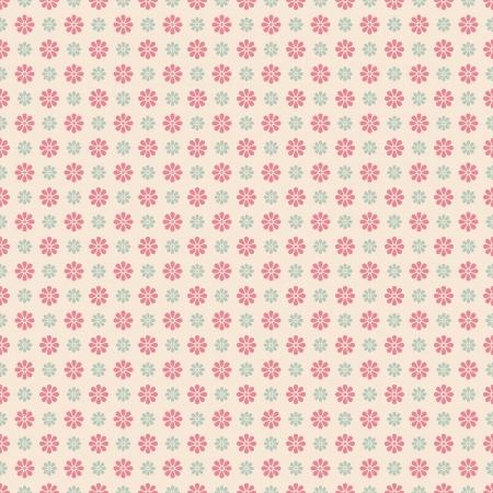꽃 벡터 원활한 패턴 (기와). 분홍색, 흰색, 파란색 초라한 색상. 끝없는 텍스쳐 직물 및 종이 또는 스크랩 예약 상에 인쇄하기 위해 사용될 수있다. 꽃