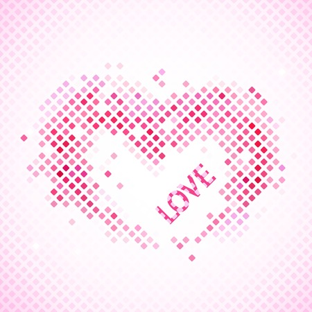 enchanting: Abstract romantic background with heart and love. Vector illustration for Valentines day. Enchanting picture for your lovely design. Pink and red colors. Pixel mosaic. Bright, simple and cheerful.