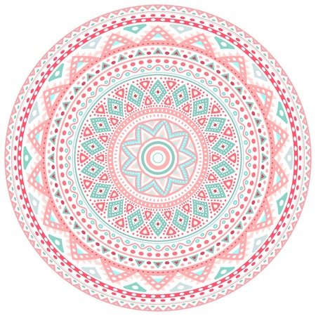 Decorative pink and blue round pattern frame on white background. Vector illustration for cute feminine and baby design. Dot and wave shapes. Oriental rug  napkin. Tribal ethnic ornamental textile. Vector