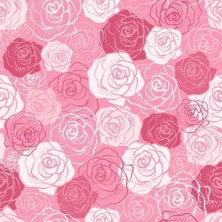 バラのベクトルのシームレスなパターン。ピンク、赤、白いみすぼらしい色。花の無限のテクスチャは布に印刷し、紙やスクラップの予約を使用で