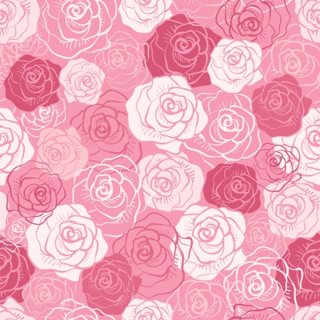 Rose vector seamless pattern. Pink, red, white shabby colors. Floral endless texture can be used for printing onto fabric and paper or scrap booking. Flower abstract background. Pretty feminine design Иллюстрация
