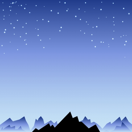 A night sky with star and mountain spike. Vector illustration for your mystery design. Can be used for poster background, surface book. Stock Vector - 25351883