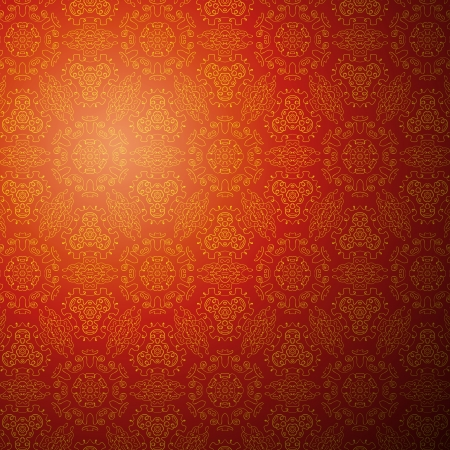 Chinese pattern background. Vector illustration for your fashion design. Stylish elements for web design. Endless eastern red and yellow ornamental.
