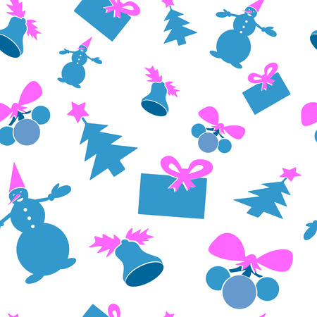 Christmas seamless background. Blue and purple color. Vector illustration. Snowman, gift, tree, bell Vector