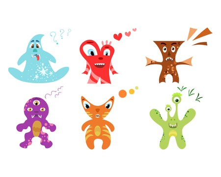 Cute colorful monster set. Vector illustration for your funny design. Vector