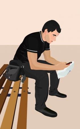 Illustration of a young man with the phone. Brunet . Vector Vector