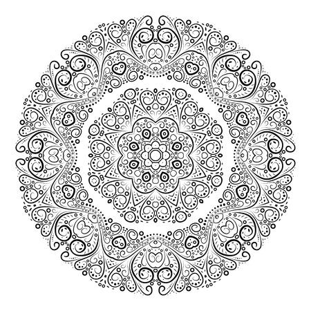 Vintage antique ornament background. Vector illustration for your feminine art design. Element for web design. Floral round lace wallpaper. White and black curly invitation. Vector