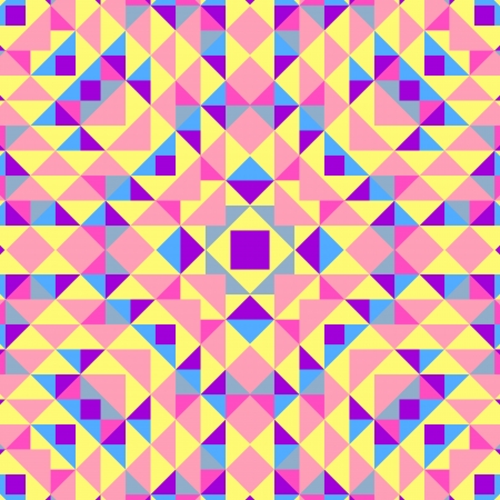 peachy: Abstract geometric background. This pattern is composition of triangle and square. Music flyer, cover, poster. Vector illustration. Colorful template. Pink, yellow, blue and purple color.