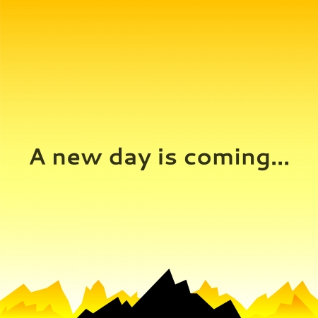 A morning sky with mountain spikes. Vector illustration for your mystery design. Can be used for poster background, surface book. Yellow and black color. New day is coming. Illustration