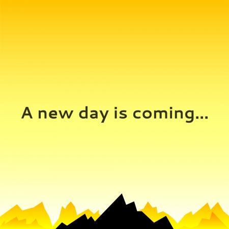 new day: Un cielo mattina con picchi di montagna. Illustrazione vettoriale per la progettazione mistero. Pu� essere utilizzato per sfondo poster, libro superficie. Di colore giallo e nero. Nuovo giorno sta arrivando. Vettoriali