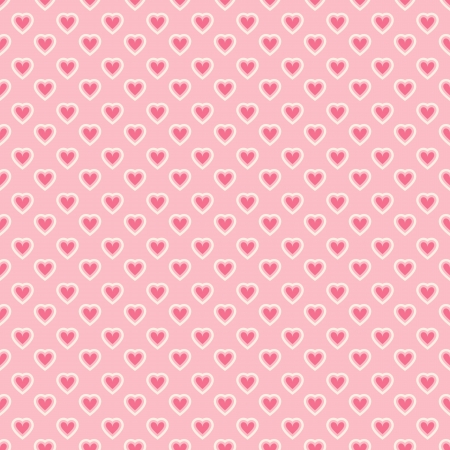 Heart shape vector seamless pattern (tiling). Pink color. Endless texture can be used for printing onto fabric and paper or scrap booking. Valentines day background for invitation. Vector